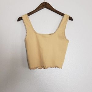 TOPSHOP Ribbed crop top with lace trim Size 8
